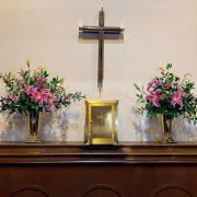 Altar flowers pink wide