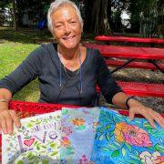 Clara DiBella with watercolors wide